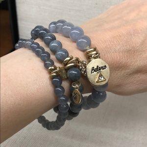 Gray quartz set of 3 inspiration  bracelets